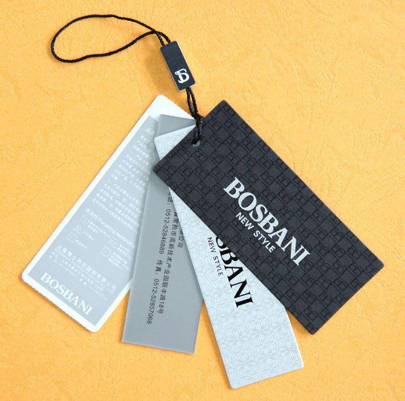 custom clothing printed hang tags/swing tags/hangtags with string design
