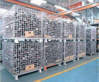 Galvanized folding warehouse storage mesh wire container cage
