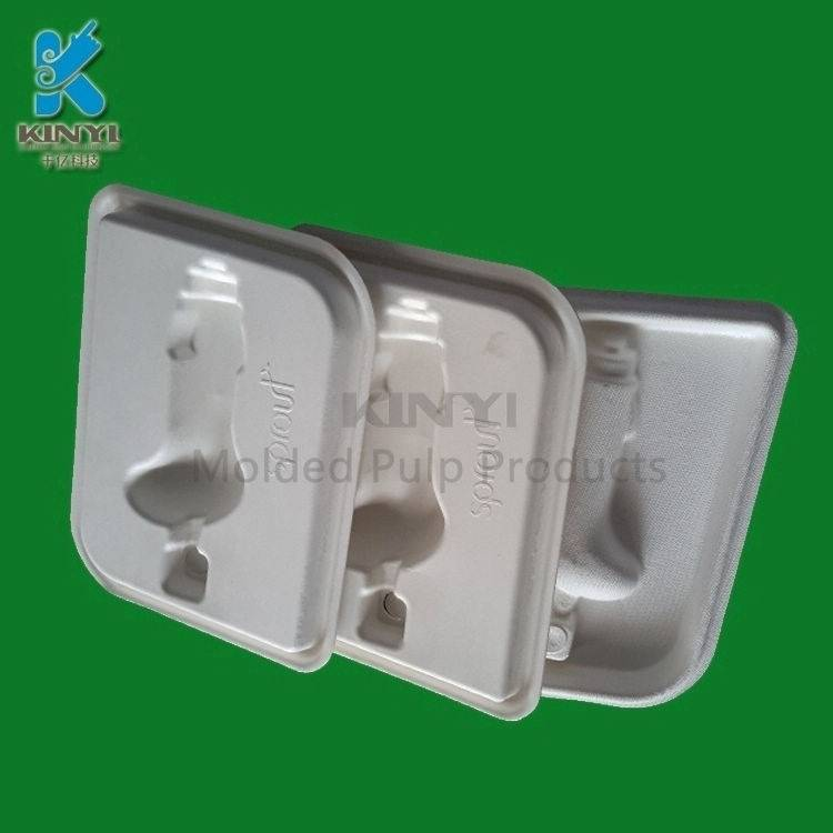 Natural fiber pulp mold packaging tray for electronic