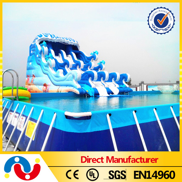 Metal frame swimming pool equipment, mobile frame pool park for summer