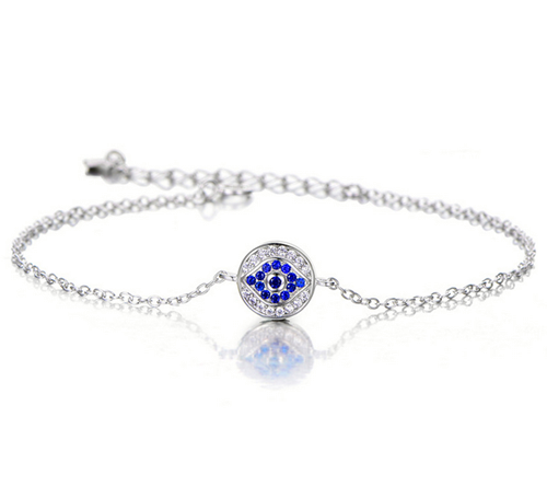 Evil Eye Design Inlay Crystal Sterling Sliver Bracelet