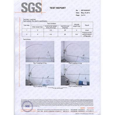 SGS test report for flag pole made of fiberglass