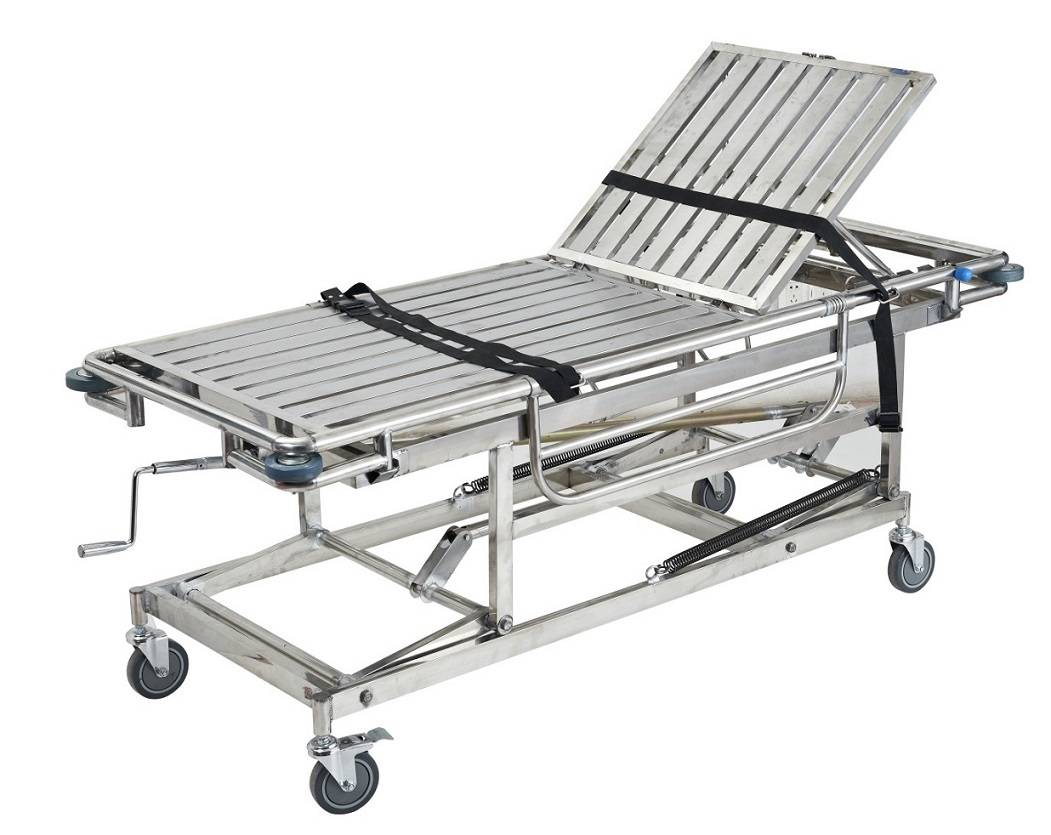 Stainless steel stretcher trolley with 4 small wheels