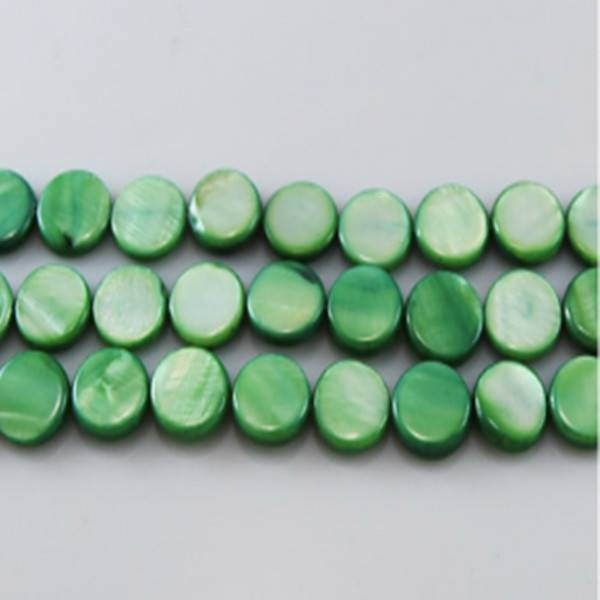"16"" 10mm Green Round Loose Shell Strand"