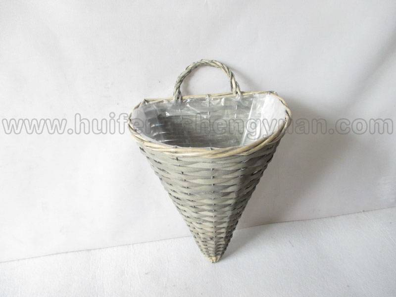 wall hanging wooden wicker plant basket with plastic lining