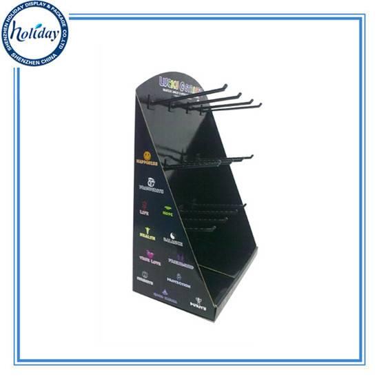 Customized Retail Hook Hanging Counter Display Box,Foldable Promotional Hook Hanging Counter Display