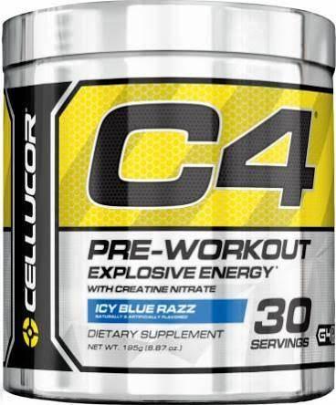 Cellucor C4 Pre-Workout Explosive Energy, Ice Blue Razz - 30 servings, 6.8 oz tub