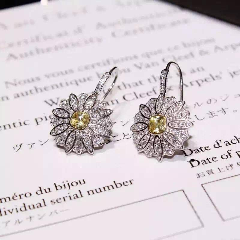 2016 NEW ARRIVAL NEFFLY Jewelry Necklace Daisy Flower EARRING S925 Silver 18K Gold Plated