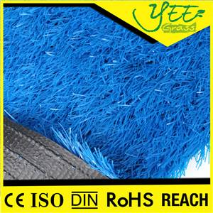 blue color artificial grass for kindergarten with heavy metal free