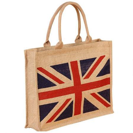 Jute tote bag with zipper