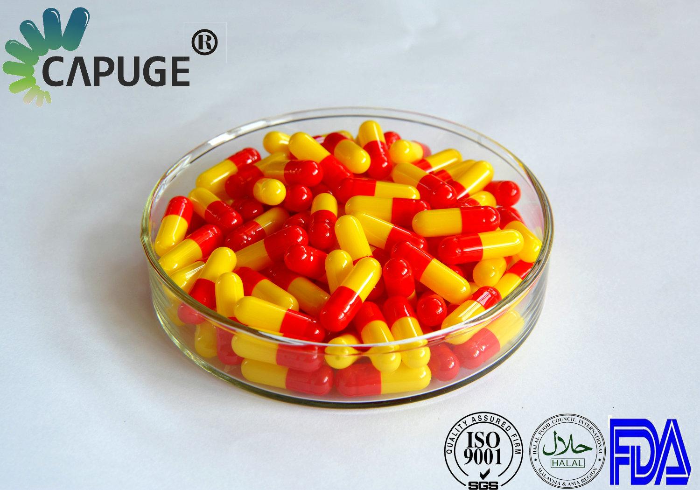 Empty Hard Gelatin Capsule Shells Bulk Size 0 1 2 red & yellow