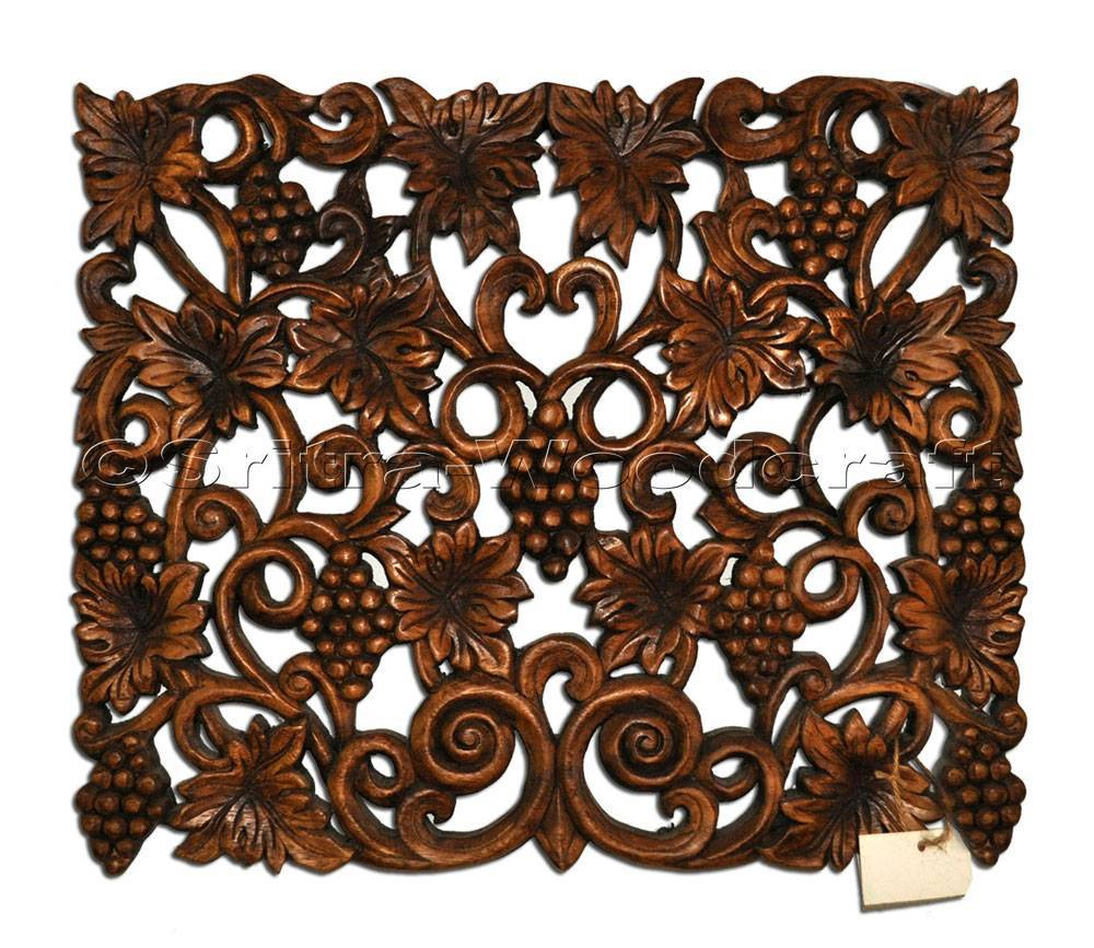Grape Wall Panel Decorative Wood Carving Thailand Sritra Woodcraft