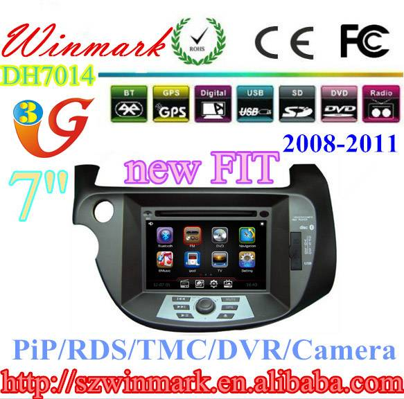 7'' Touch Screen Car DVD Player for Honda New Fit Car GPS /Radio/3G/Phonebook/ iPod/mp4/mp5/TV/USB/D