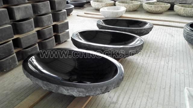 Black granie vessel sink, stone wash basin