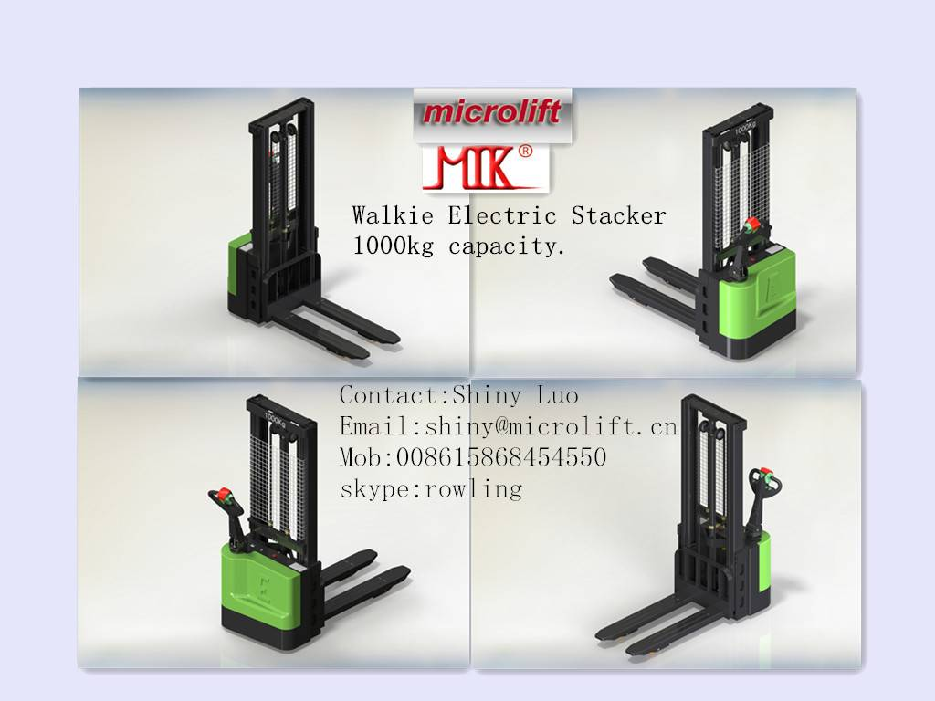 Electric Stacker factory, Microlift brand or OEM, 1000KG Capacity, ES10 Model