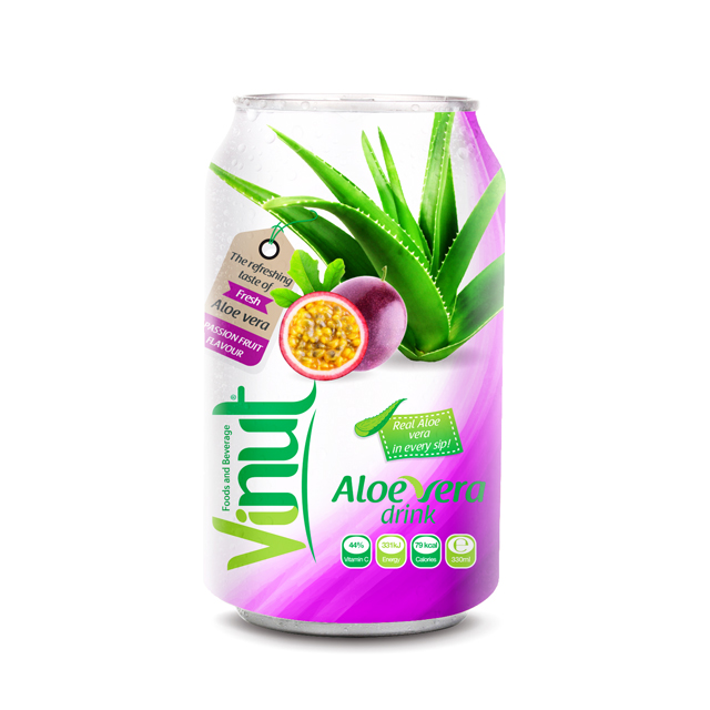 Cans Fresh Aloe vera drink with Passion fruit Juice 330ml (Pack of 24)
