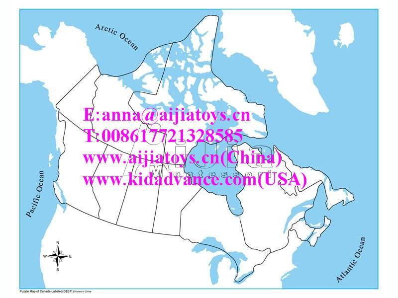 Montessori Unlabeled Canada Control Map,montessori material toys