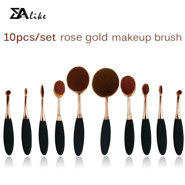 High reliable hot selling foundation brush 10pcs tooth brush oval makeup brush