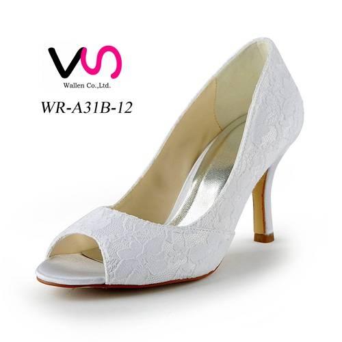Popular lace style peeptoe middle heel bridal wedding shoes