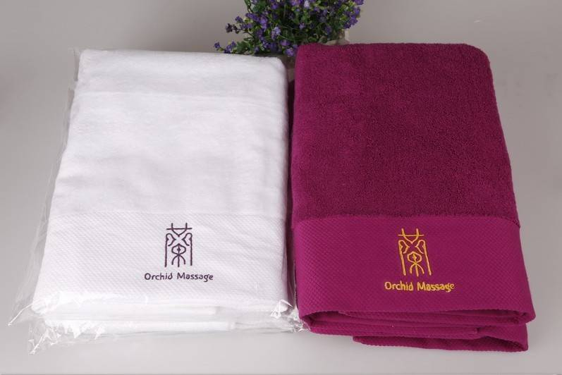 Dobby border solid color luxury quality bath towels