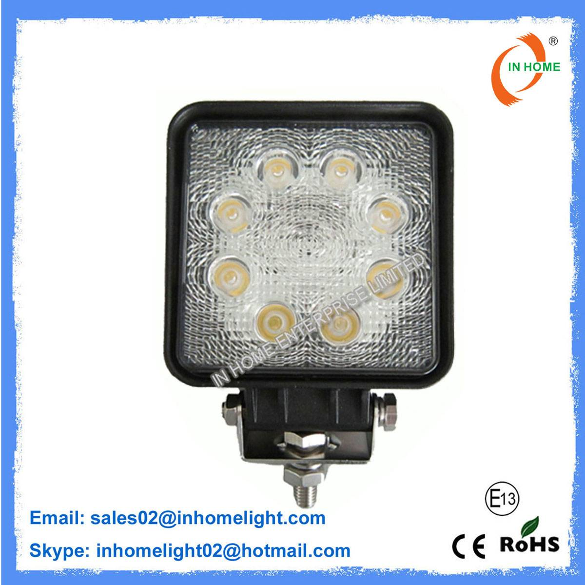 24W Energy-Saving Automotive IP67 2160LM Square LED Work Lights