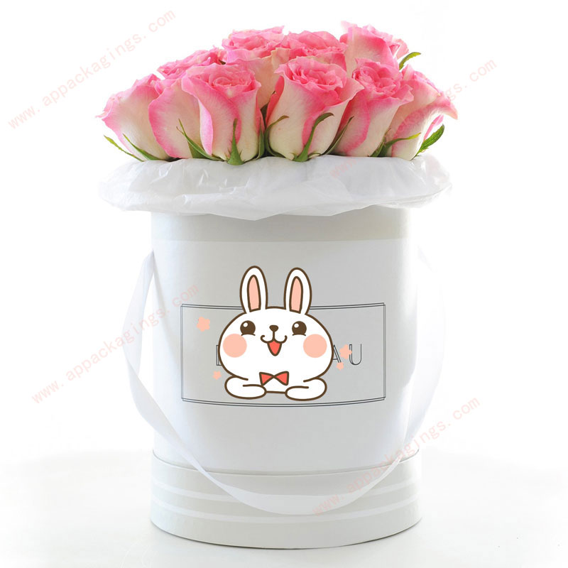 Wholesale luxury black cylindrical cardboard round flower gift box with lid