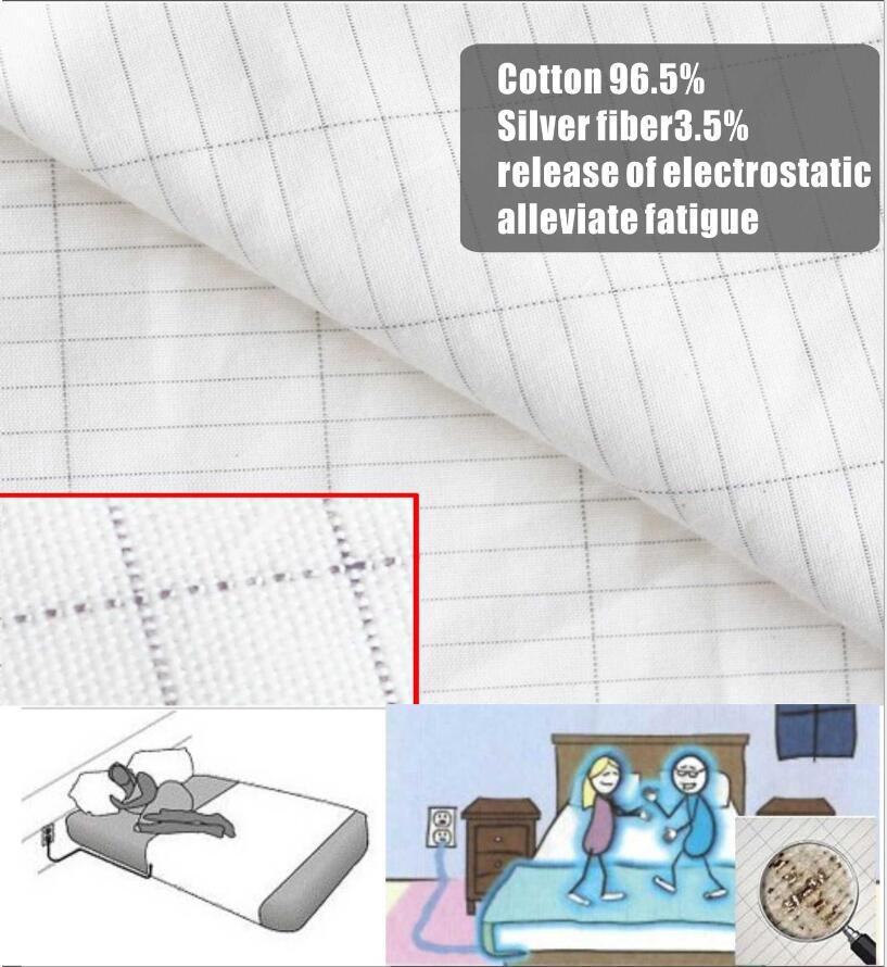 white nano cotton/silver antistatic fabric for earth sheet