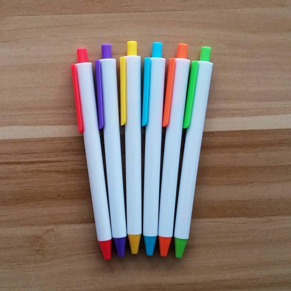 cheaper click ball pen with plastic white barrel and wide clip