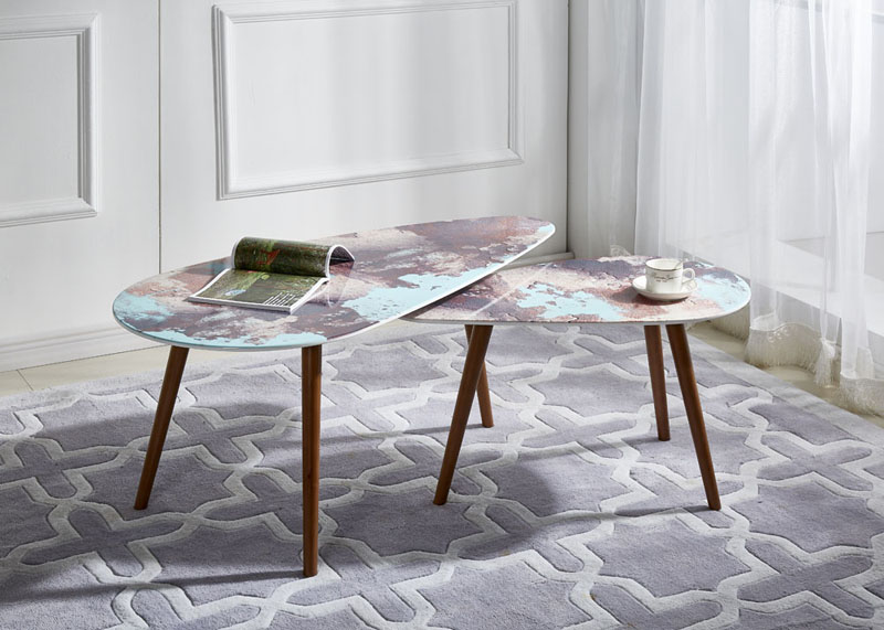 3D Marble Effect Modern Coffee Table Set