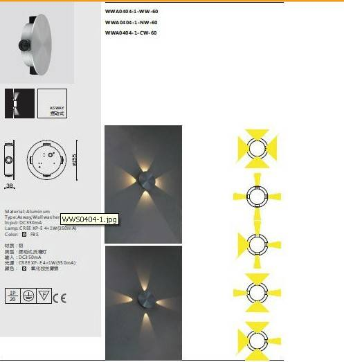 4w indoor led wall light wall washer Cree XP-E