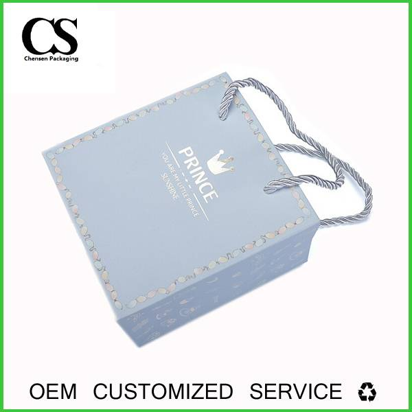 Custom Company Logo Silver Stamp Printing Packing Paper Bags