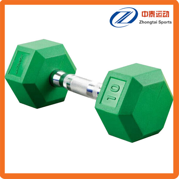Eco-friendly hex rubber coated dumbbell