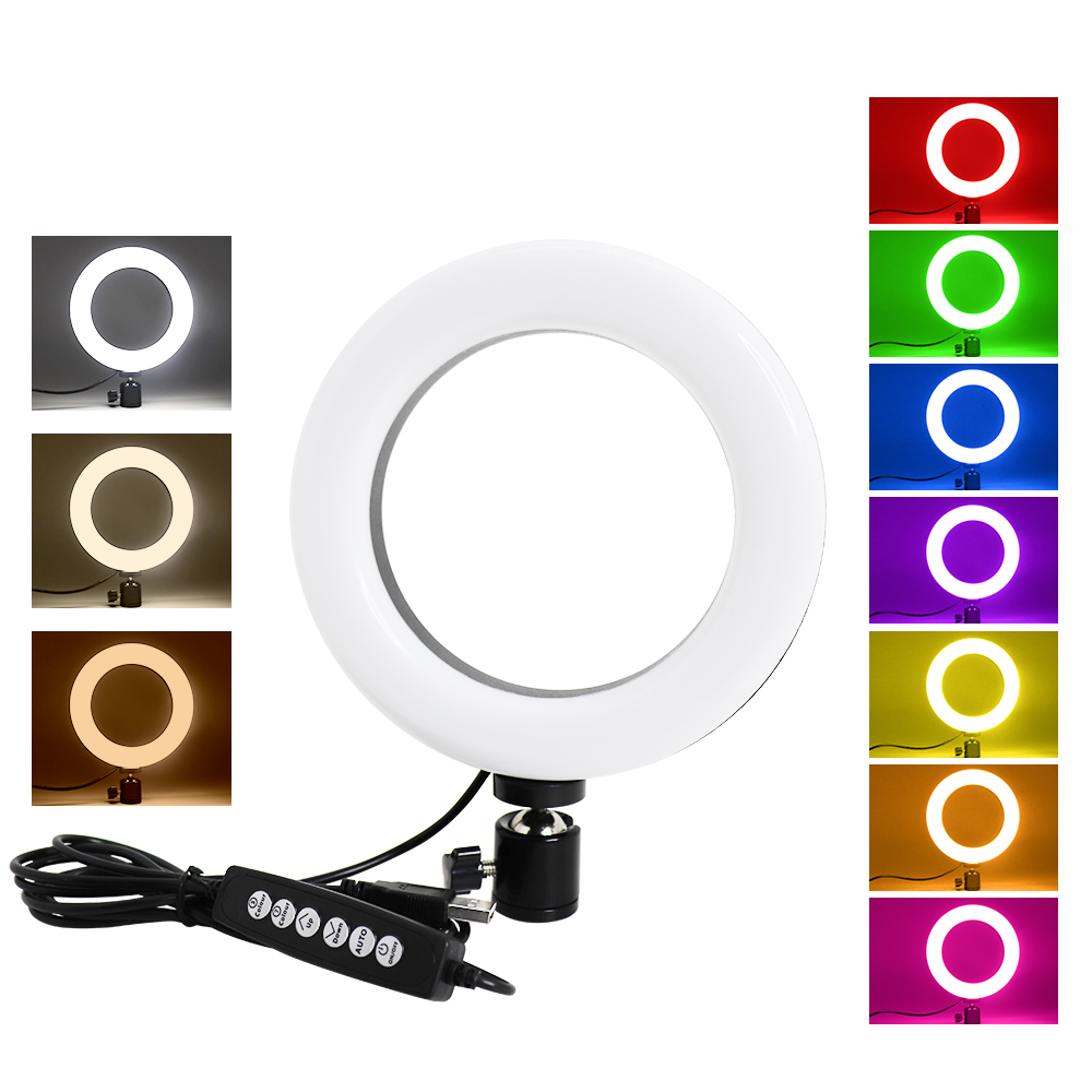 Hot Deal MEZHER 6 inch Mini RGBW dimmable LED Ring Light With USB For Youtube Video