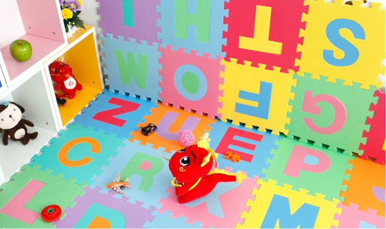 Nonslip Waterproof Baby Game Pads EVA Colorful Anti Wrinkle Letters Floor Puzzles Mats for Children