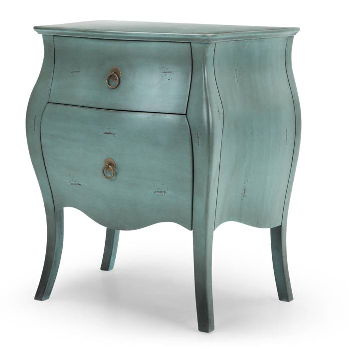 Bedside Table With 2-Drawer In Distressed Turquoise