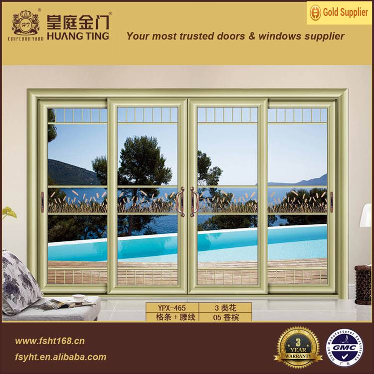 aluminum sliding door with double tepered glass