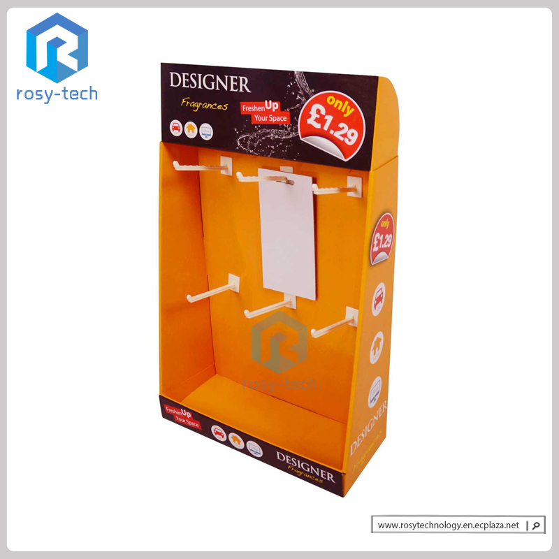 Customized Paperboard Counter Display With Pegs For Electronic Product Accessories