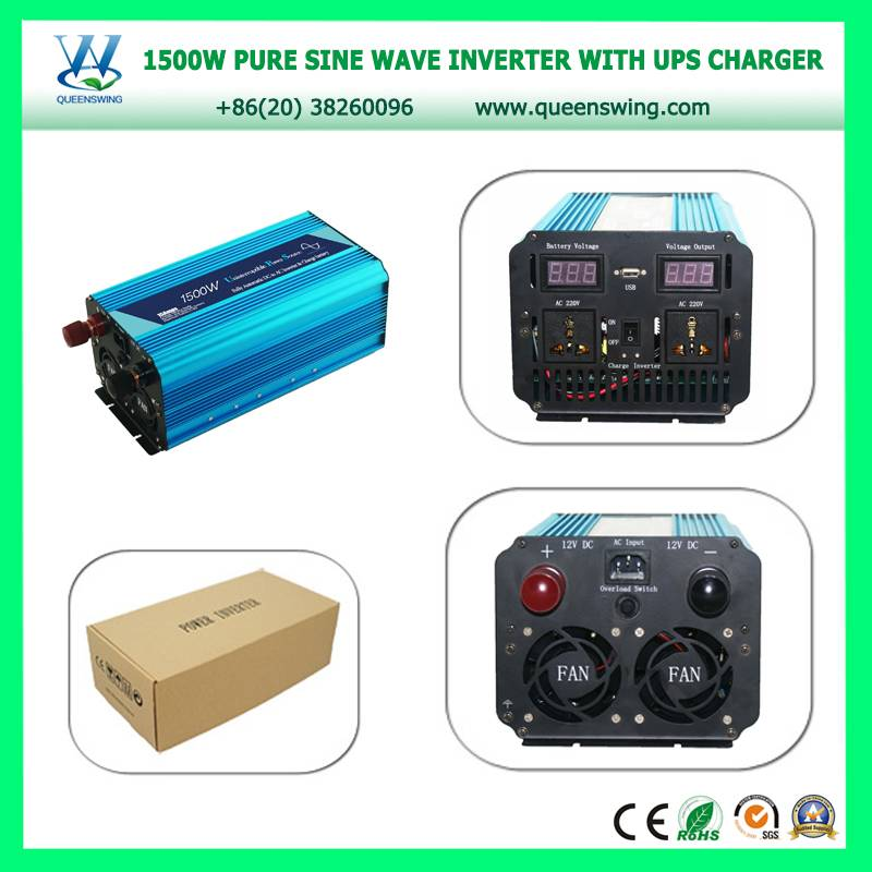 Back-up Power 1500W DC12V to AC220V Ture Pure Sine Wave Power Inverter with UPS charger and digital