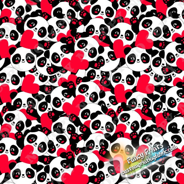 love pandas print in swimwear fabric