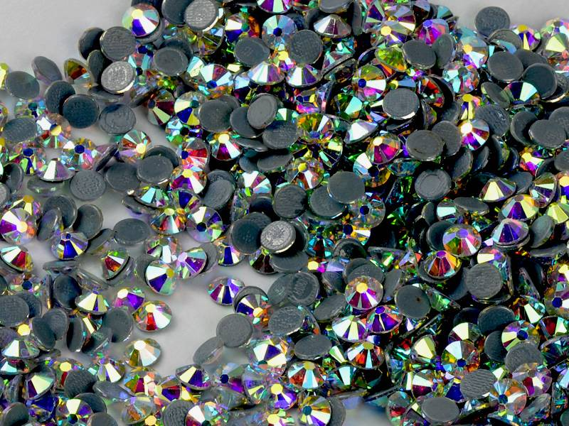 14 facets hot fix crystals, best cutting rhinestones, crystal AB glass stones for fashion garments