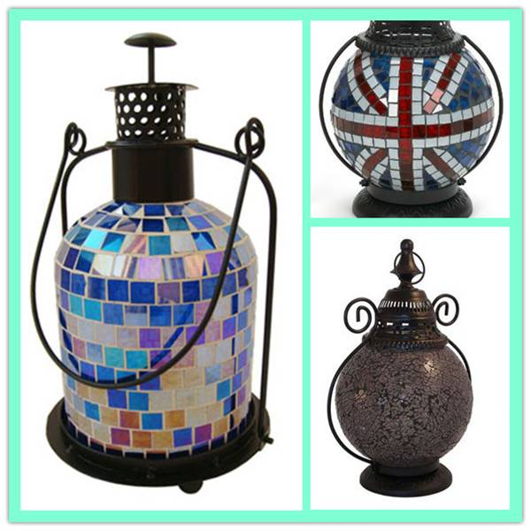 Decorative Turkish ball shaped glass hanging mosaic tealight lantern with metal stand