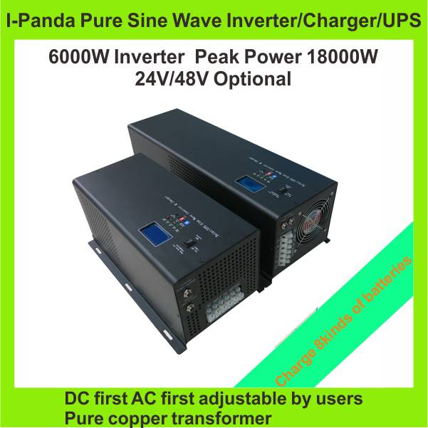 Stock 6000W inverter generator , inverter 6000W 48V 24V , DC to AC pure sine wave inverter charger w