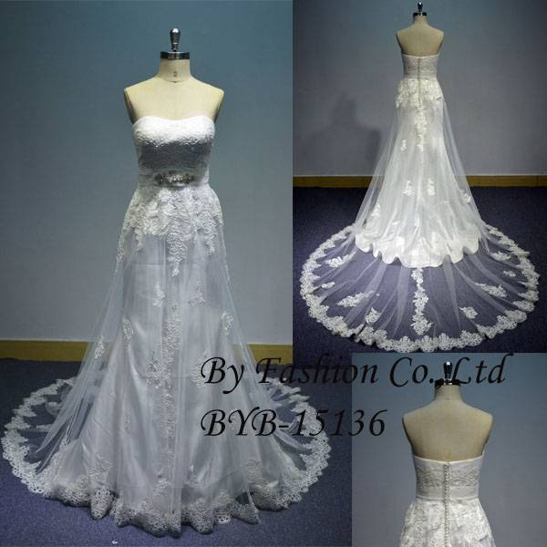 2016 strapless beaded belt applique tulle lace white wedding gown