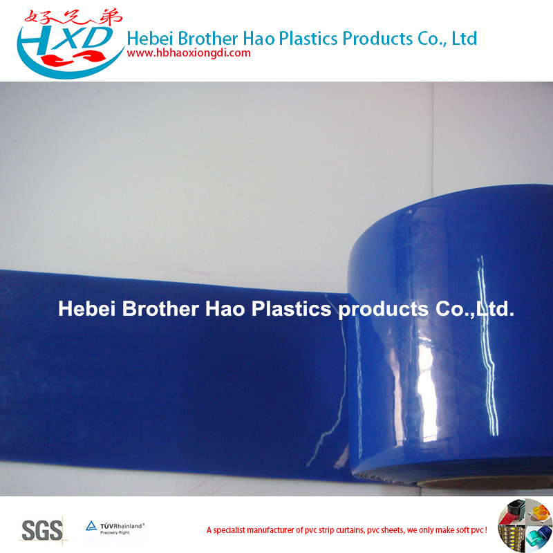 Opaque Blue Smooth PVC Curtain Strip Rolls 2mm, 3mm,4mm Thickness