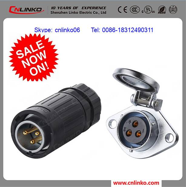 CNLINKO brand CE UL CUL waterproof electric cable connector quickly connector straight plug and flan