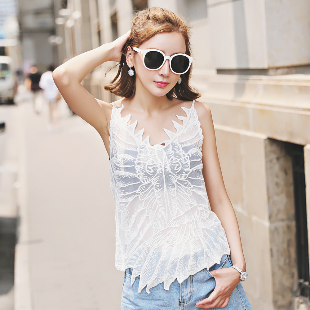 Lace Sling Lace Embroidery Summer Sling Striped Lace Stitching Sleeveless Tops