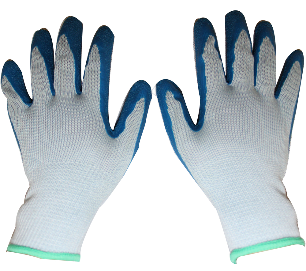 10G grey cotton dipped blue latex working protect gloves for industrial use