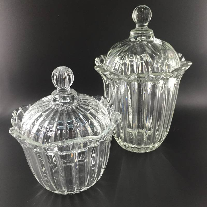 High quality sugar bowl glass candy bowl with lid