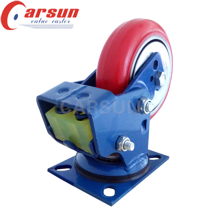 Heavy Duty Shock Absorbing Caster with PU Wheel on Cast Iron Core