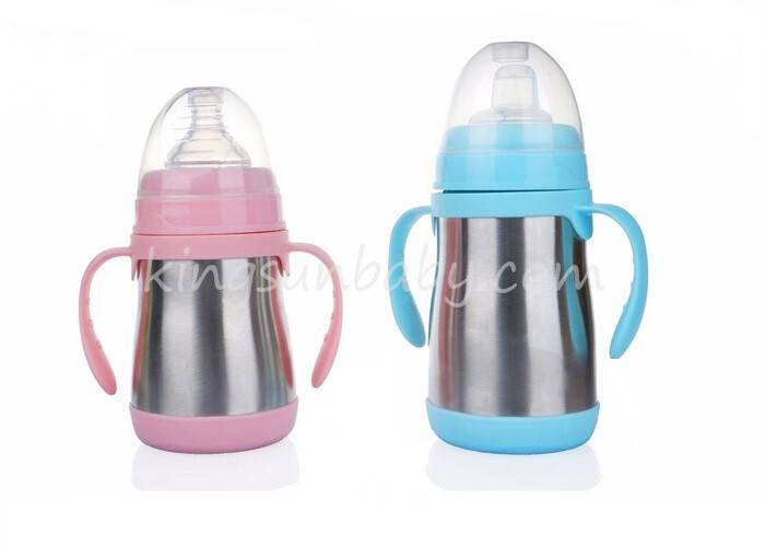 Wide Mouth Stainless Steel Baby Feeding Bottle 180ml / 240ml Insulated Size Optional